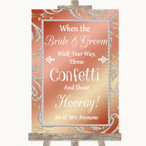 Coral Pink Confetti Customised Wedding Sign
