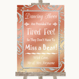 Coral Pink Dancing Shoes Flip-Flop Tired Feet Customised Wedding Sign