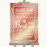 Coral Pink Date Jar Guestbook Customised Wedding Sign