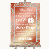 Coral Pink Don't Post Photos Facebook Customised Wedding Sign