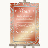 Coral Pink Don't Post Photos Online Social Media Customised Wedding Sign