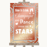 Coral Pink Drink Champagne Dance Stars Customised Wedding Sign