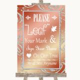 Coral Pink Fingerprint Tree Instructions Customised Wedding Sign