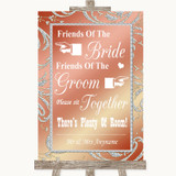 Coral Pink Friends Of The Bride Groom Seating Customised Wedding Sign