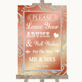 Coral Pink Guestbook Advice & Wishes Mr & Mrs Customised Wedding Sign