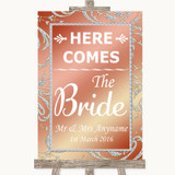 Coral Pink Here Comes Bride Aisle Sign Customised Wedding Sign