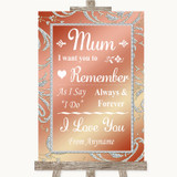 Coral Pink I Love You Message For Mum Customised Wedding Sign