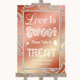 Coral Pink Love Is Sweet Take A Treat Candy Buffet Customised Wedding Sign