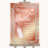 Coral Pink Message In A Bottle Customised Wedding Sign