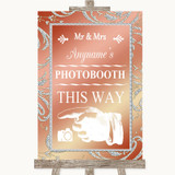 Coral Pink Photobooth This Way Left Customised Wedding Sign