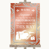 Coral Pink Photobooth This Way Right Customised Wedding Sign