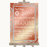 Coral Pink Plant Seeds Favours Customised Wedding Sign