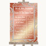 Coral Pink Rules Of The Dance Floor Customised Wedding Sign