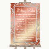 Coral Pink Rules Of The Wedding Customised Wedding Sign