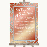 Coral Pink Signature Favourite Drinks Customised Wedding Sign