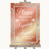 Coral Pink Signing Frame Guestbook Customised Wedding Sign