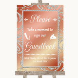 Coral Pink Take A Moment To Sign Our Guest Book Customised Wedding Sign