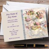 Floral Teacups Pretty Vintage Tea Wedding Anniversary Party Customised Invitations