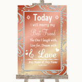 Coral Pink Today I Marry My Best Friend Customised Wedding Sign