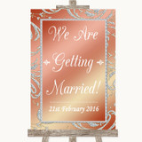 Coral Pink We Are Getting Married Customised Wedding Sign