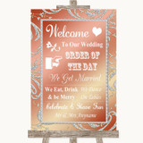 Coral Pink Welcome Order Of The Day Customised Wedding Sign