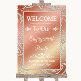 Coral Pink Welcome To Our Engagement Party Customised Wedding Sign