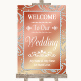 Coral Pink Welcome To Our Wedding Customised Wedding Sign