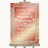 Coral Pink Who's Who Leading Roles Customised Wedding Sign