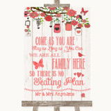 Coral Rustic Wood All Family No Seating Plan Customised Wedding Sign
