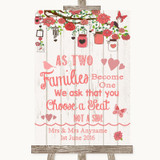 Coral Rustic Wood As Families Become One Seating Plan Customised Wedding Sign