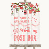 Coral Rustic Wood Card Post Box Customised Wedding Sign