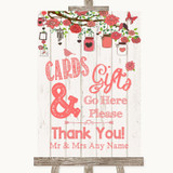 Coral Rustic Wood Cards & Gifts Table Customised Wedding Sign