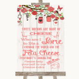 Coral Rustic Wood Cheesecake Cheese Song Customised Wedding Sign