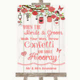 Coral Rustic Wood Confetti Customised Wedding Sign