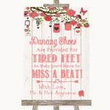 Coral Rustic Wood Dancing Shoes Flip-Flop Tired Feet Customised Wedding Sign