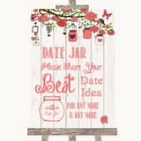 Coral Rustic Wood Date Jar Guestbook Customised Wedding Sign