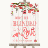 Coral Rustic Wood Don't Be Blinded Sunglasses Customised Wedding Sign
