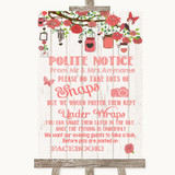 Coral Rustic Wood Don't Post Photos Facebook Customised Wedding Sign