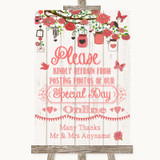 Coral Rustic Wood Don't Post Photos Online Social Media Wedding Sign