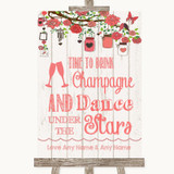Coral Rustic Wood Drink Champagne Dance Stars Customised Wedding Sign