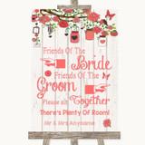 Coral Rustic Wood Friends Of The Bride Groom Seating Customised Wedding Sign