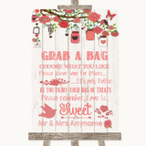 Coral Rustic Wood Grab A Bag Candy Buffet Cart Sweets Customised Wedding Sign