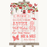 Coral Rustic Wood Guestbook Advice & Wishes Mr & Mrs Customised Wedding Sign