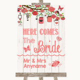 Coral Rustic Wood Here Comes Bride Aisle Sign Customised Wedding Sign