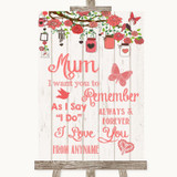 Coral Rustic Wood I Love You Message For Mum Customised Wedding Sign