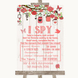 Coral Rustic Wood I Spy Disposable Camera Customised Wedding Sign