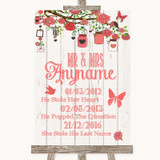 Coral Rustic Wood Important Special Dates Customised Wedding Sign