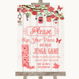 Coral Rustic Wood Jenga Guest Book Customised Wedding Sign