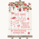 Coral Rustic Wood Let Love Sparkle Sparkler Send Off Customised Wedding Sign