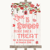 Coral Rustic Wood Love Is Sweet Take A Treat Candy Buffet Wedding Sign